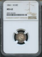 1861 SEATED HALF DIME NGC MINT STATE 62 BROWN LABEL