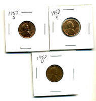 1952 P,D,S WHEAT PENNIES LINCOLN CENTS CIRCULATED 2X2 FLIPS 3 COIN PDS SET331