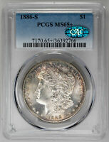 1886-S $1 MORGAN DOLLAR - PCGS MINT STATE 65 CAC APPROVED