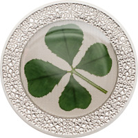 2019 $5 PALAU 1 OZ STERLING SILVER COIN REAL 4 LEAF CLOVER
