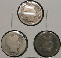 BARBER DIMES   BETTER DATE CULLS   SET OF 3 COINS   1892 S /