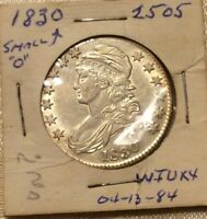 1830 50C CAPPED BUST LETTERED EDGE SILVER HALF DOLLAR