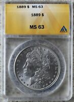 1889 MORGAN SILVER UNC DOLLAR CERTIFIED ANACS AS MINT STATE 63 ONE DOLLAR US TYPE COIN