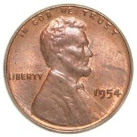 1954S USA LINCOLN WHEAT CENT COIN - ONE CENT 1 - UNC RED - MINT LUSTRE