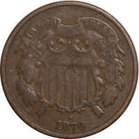 1870 TWO CENT PIECE - HIGH GRADE CIRCULATED EXAMPLE BUT WITH OLD SCRATCHES