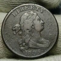 1805 DRAPED BUST HALF CENT,  COIN, SHIPS FREE  8755