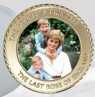 PRINCESS DIANA GOLD COIN PRINCE HARRY WILLIAM AUTOGRAPHED EN