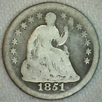 1851 O US SILVER HALF DIME 5C US SILVER COIN GOOD SEATED LIBERTY K5