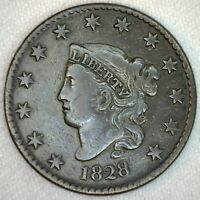 1828 CORONET HEAD US ONE CENT PENNY COIN 1C LARGE CENT COPPER COIN VF FINE
