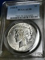 1926 S PEACE DOLLAR 90 SILVER COIN PCGS CERTIFIED AU58 , LOOKS MS