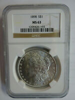 1898 MORGAN DOLLAR $1 NGC GRADED MINT STATE 63 SILVER COIN UNCIRCULATED CERT 1209426-193