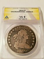 1800 DRAPED BUST SILVER $1 DOLLAR OLD U.S. TYPE COIN ANACS V