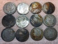 LOT OF 12 MORGAN SILVER DOLLAR COINS 90 SILVER MIXED DATES / MINTS 1881 - 1901