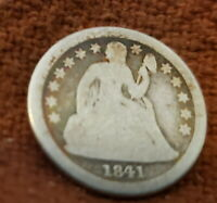 1841 O NEW ORLEANS US AMERICAN SILVER SEATED DIME