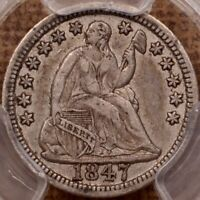 1847 SEATED HALF DIME PCGS XF40 CRUSTY AND SUPER CHOICE    D