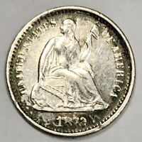 1872-S LIBERTY SEATED HALF DIME 5C ABOUT UNCIRCULATED AU