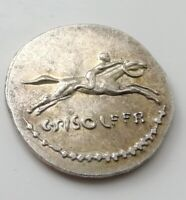 UNKNOWN SILVER COIN HORSE RACING RACE RIDER MAN ROMAN GREEK