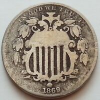 1869   SHIELD NICKEL   5 CENT US COIN