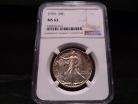 1935 MINT STATE 63 LIBERTY WALKING HALF DOLLAR NGC CERTIFIED - BRIGHT WHITE/COLOR/PQ