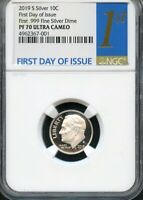 2019 S FIRST .999 FINE SILVER DIME FIRST DAY OF ISSUE NGC PF