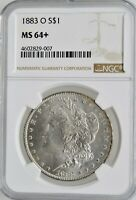 1883-O MORGAN SILVER DOLLAR NGC MINT STATE 64 INVESTMENT GRADE NEW ORLEANS SILVER COIN