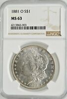 1881-O MORGAN SILVER DOLLAR NGC MINT STATE 63 INVESTMENT GRADE NEW ORLEANS SILVER COIN