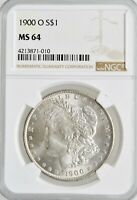 1900-O MORGAN SILVER DOLLAR NGC MINT STATE 64 INVESTMENT GRADE NEW ORLEANS SILVER COIN