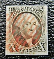 NYSTAMPS US STAMP  2 USED $1150 RED CANCEL