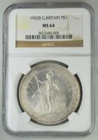 BRITISH TRADE DOLLAR GREAT BRITAIN  $1 1902B HIGH GRADE NGC  MS64  SILVER