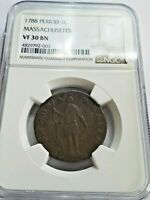 1788 MASSACHUSETTS LARGE CENT NGC VF30 BN PROBLEM FREE ORIGI