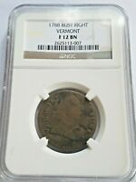 1788 VERMONT COPPER LARGE CENT NCG F 12 BN OLD U.S. COLONIAL