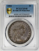 1802 $1 B-5 BB-242 WIDE DATE DRAPED BUST DOLLAR PCGS EXTRA FINE 40 CERTIFIED US  COIN