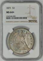 1871 SEATED LIBERTY DOLLAR $ MINT STATE 64 NGC 942338-11