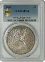1841 SEATED LIBERTY DOLLAR $ MINT STATE 62 SECURE PLUS PCGS 942103-12