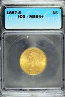 1887 - S ICG MINT STATE 64 LIBERTY FIVE DOLLAR GOLD EAGLE  HD0229