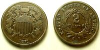 1871 TWO CENT PIECE-BETTER DATE-GREAT COLOR SHIPS FREE