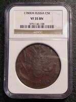 1780 EM RUSSIA 5 KOPEK COIN EMPIRE C-59.3 NGC VF35 BROWN CATHERINE II