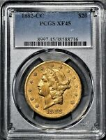 1882 CC $20 LIBERTY HEAD GOLD DOUBLE EAGLE COIN CERTIFIED BY