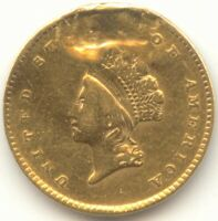 1854 GOLD DOLLAR SCARCE TYPE 2 VF DETAILS TRUE AUCTION NO RE