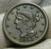 1853 BRAIDED HAIR HALF CENT -  ONLY 129,694 MINTED .  COIN 9163