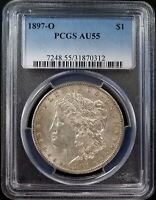 1897 O MORGAN SILVER DOLLAR CERTIFIED AU 55 BY PCGS