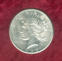 1928 PEACE DOLLAR WITH BU DETAILS HAS SCUFF MARKS ON OBVERSE