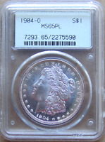 1904-O MORGAN DOLLAR, TONED REVERSE,  GEN 2.1 OLD GREEN HOLDER PCGS MINT STATE 65PL