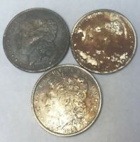 LOT OF 3 MORGAN SILVER DOLLARS 90 1878S 1889 1890S  GREAT DETAIL SHIPS FREE