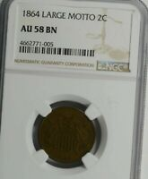 1864 LARGE MOTTO TWO CENT PIECE : NGC AU58