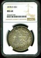1878-S $1 MORGAN SILVER DOLLAR MINT STATE 64 NGC 4526447-001