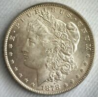 1878 MORGAN SILVER DOLLAR 7 TAIL FEATHERS REVERSE OF 1879 $1 US DOLLAR UNC COIN