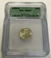 1959-D SILVER ROOSEVELT DIME  ICG MINT STATE 67  BRIGHT, BOLD, FLASHY AND