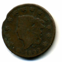 1822 PENNY US CORONET HEAD CENT LARGE US  LOW MINTAGE KEY DATE COIN516