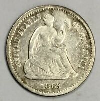 1863-S LIBERTY SEATED HALF DIME 5C  GOOD -  DATE